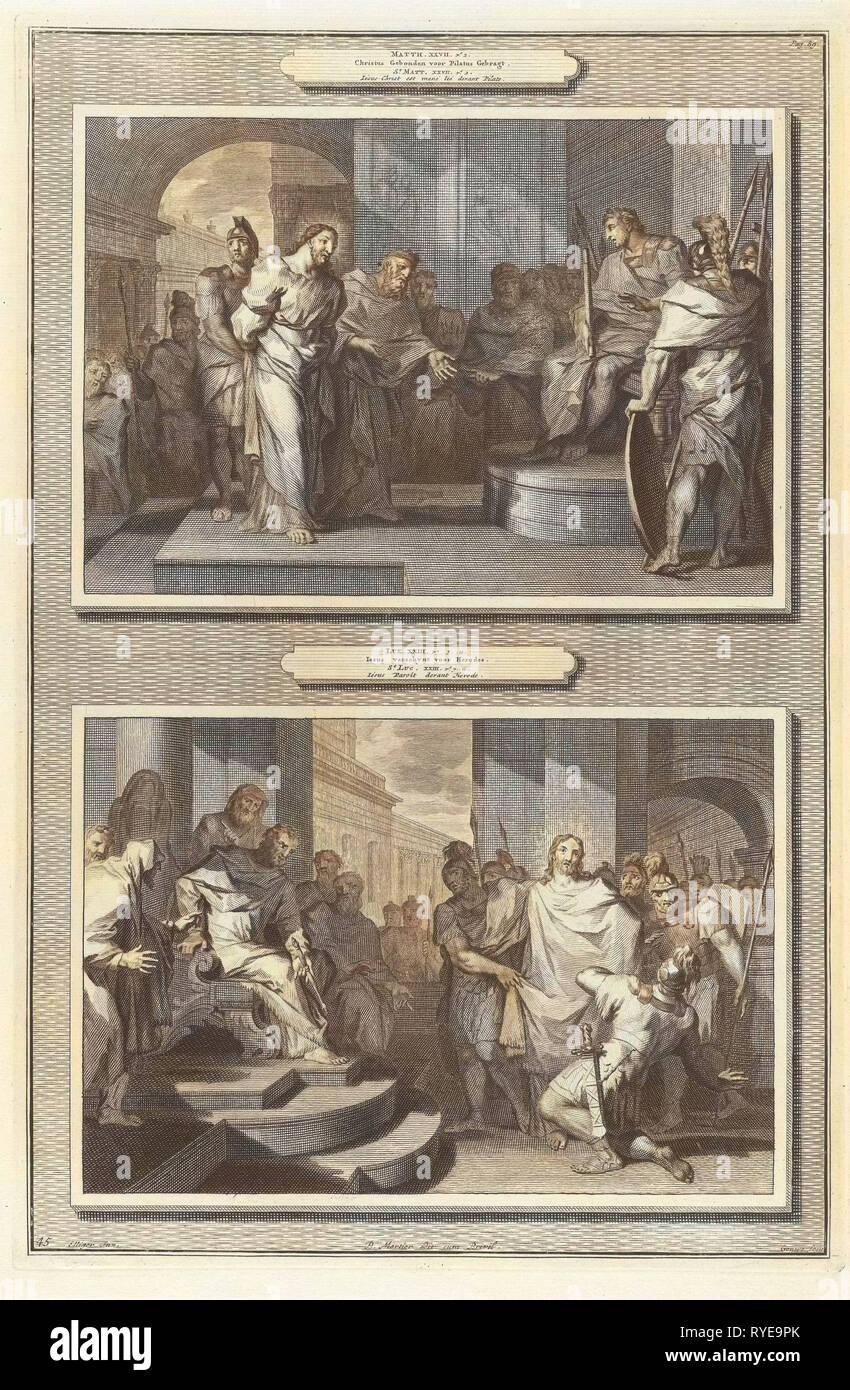 Christ before Pilate and Herod, Gilliam van der Gouwen, Pieter Mortier, Anonymous, 1700 - Stock Image