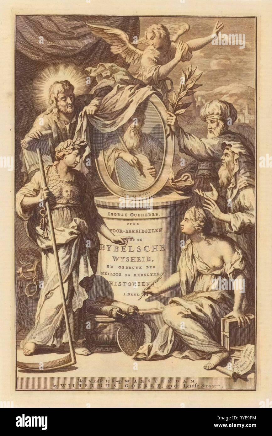 Bible Figures reveal the portrait of Moses, Gilliam van der Gouwen, Wilhelmus Goeree (I), 1690 - Stock Image