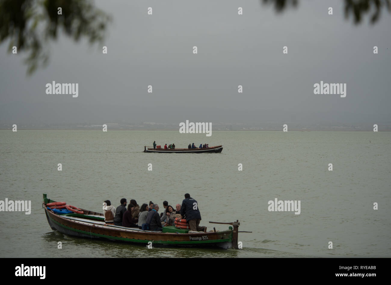 Boat trips round the lake and it s chanels Rich lake s flora and fauna La Albufera lake Valencia Spain - Stock Image