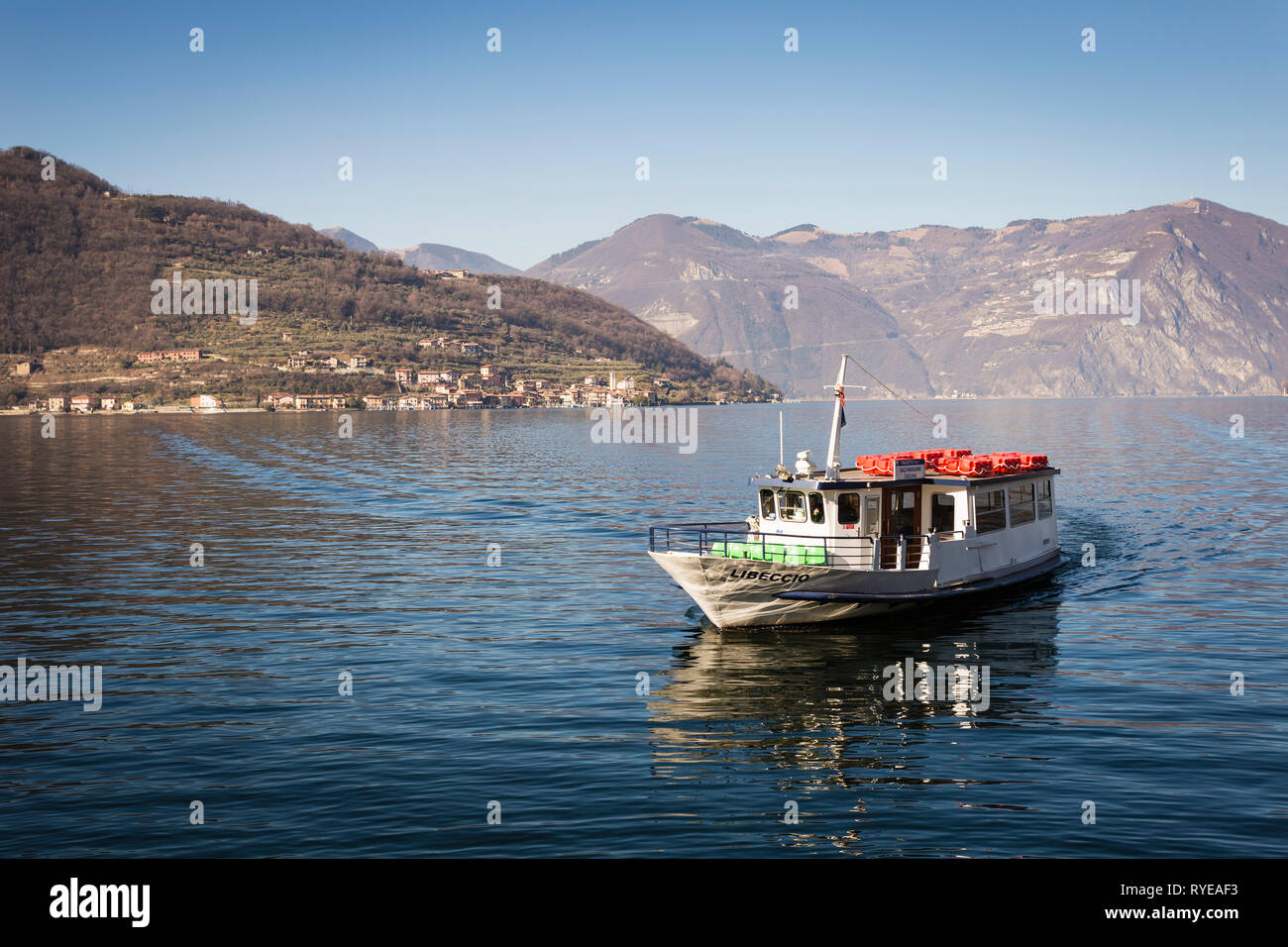 Boat on Iseo lake (Lago d'Iseo), Lombardy, Italy - Stock Image