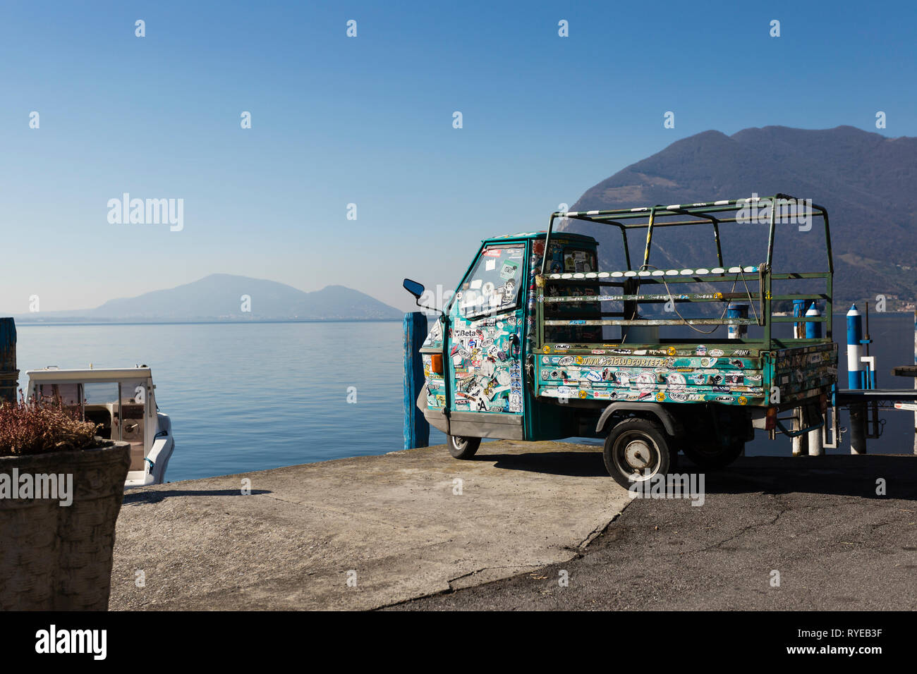 Ape Car by the Lake, Monte Isola, Iseo lake, Italy - Stock Image