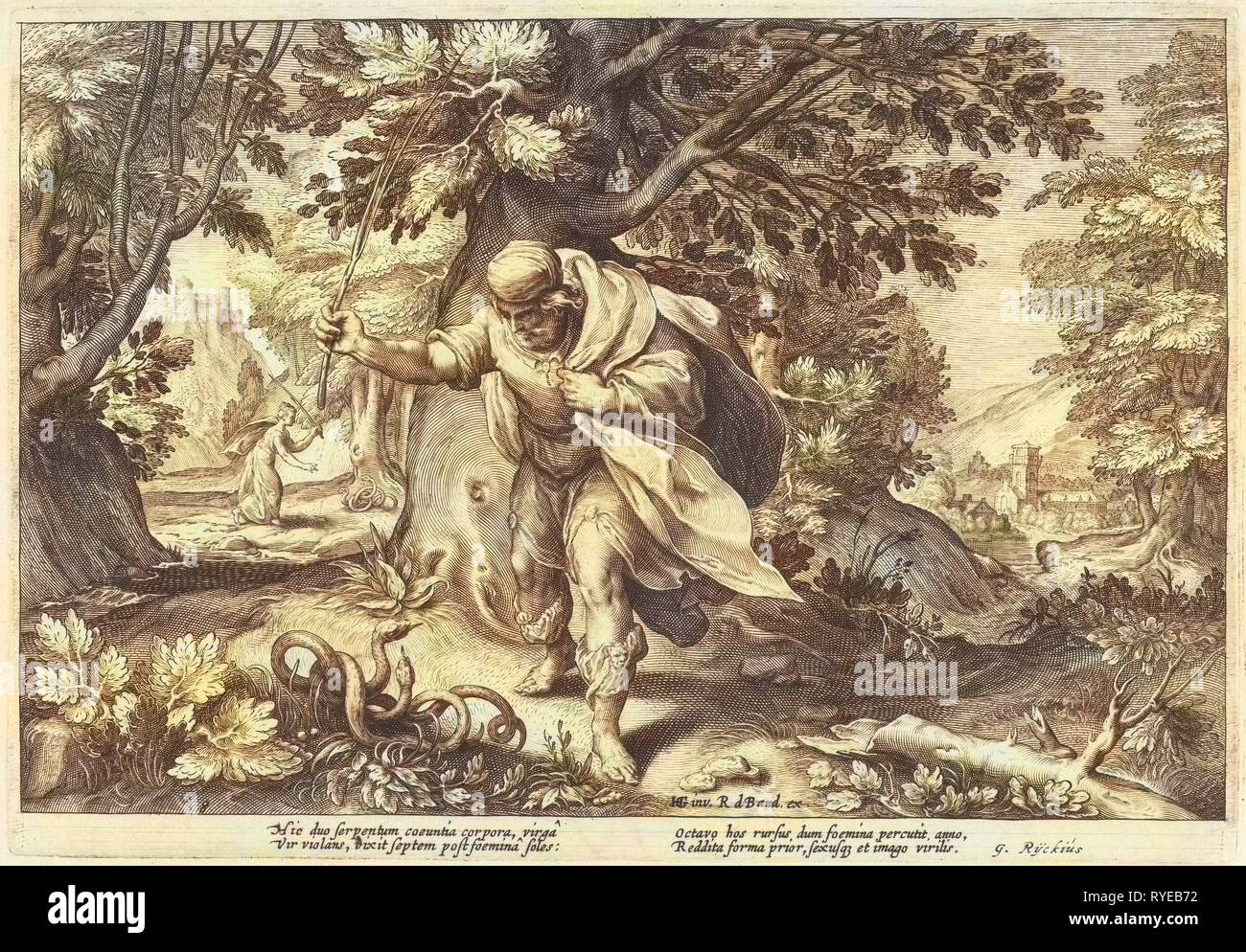Teiresias stores in a forest two mating snakes. Then he turned into a woman. Seven years later he changed back into a man again after two mating snakes have beaten, part of a series of 52 prints that depict stories from Ovid's Metamorphoses, print maker: Hendrick Goltzius (workshop of), Dating 1615 - Stock Image