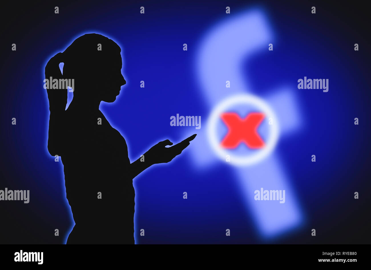 Illustration showing silhouette of a woman holding a mobile phone closing Facebook account. Deleting, terminating, removing or deactivating Facebook. - Stock Image