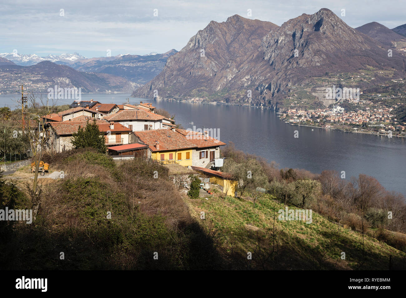 Village of Olzano on Monte Isola, Lake Iseo, Lombardy, Italy - Stock Image