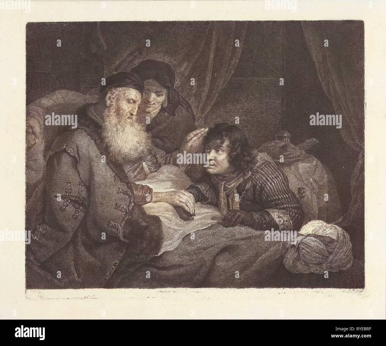 Isaac blesses Jacob, Johannes Pieter de Frey, Govert Flinck, 1798 - Stock Image