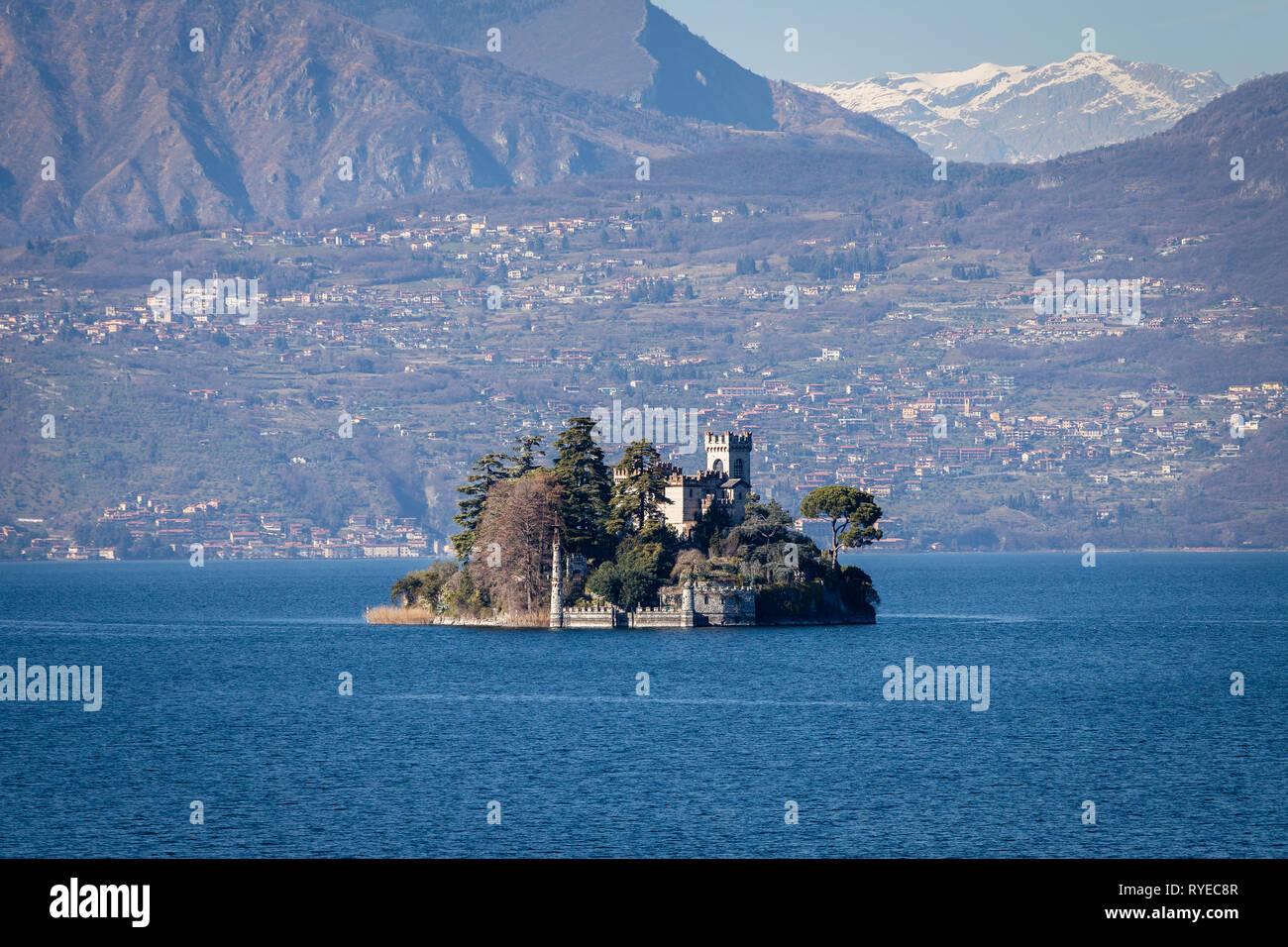 Loreto isle on Iseo lake, Lombardy, Italy - Stock Image