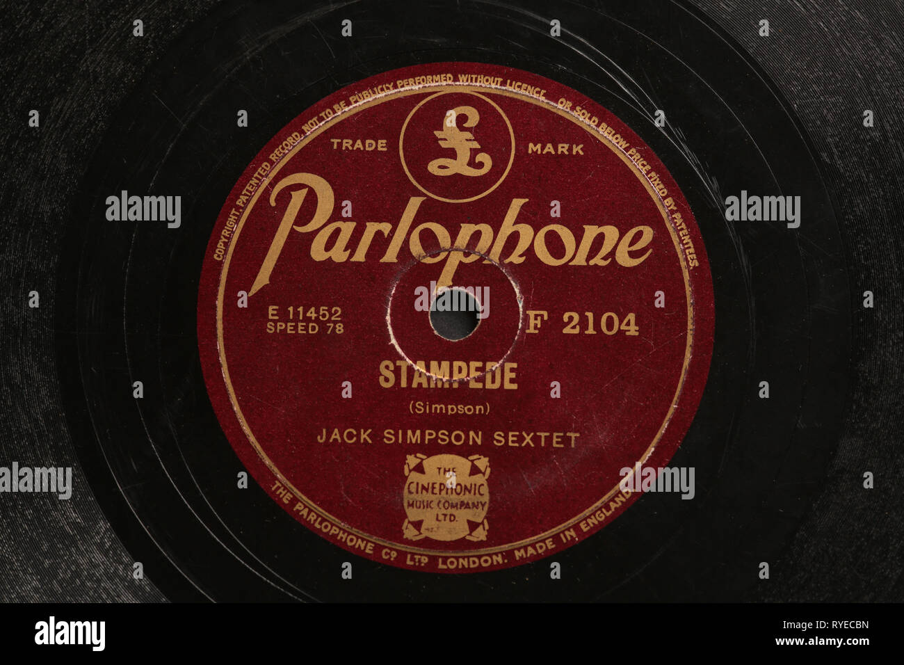 Vintage 78 rpm record label Stock Photo