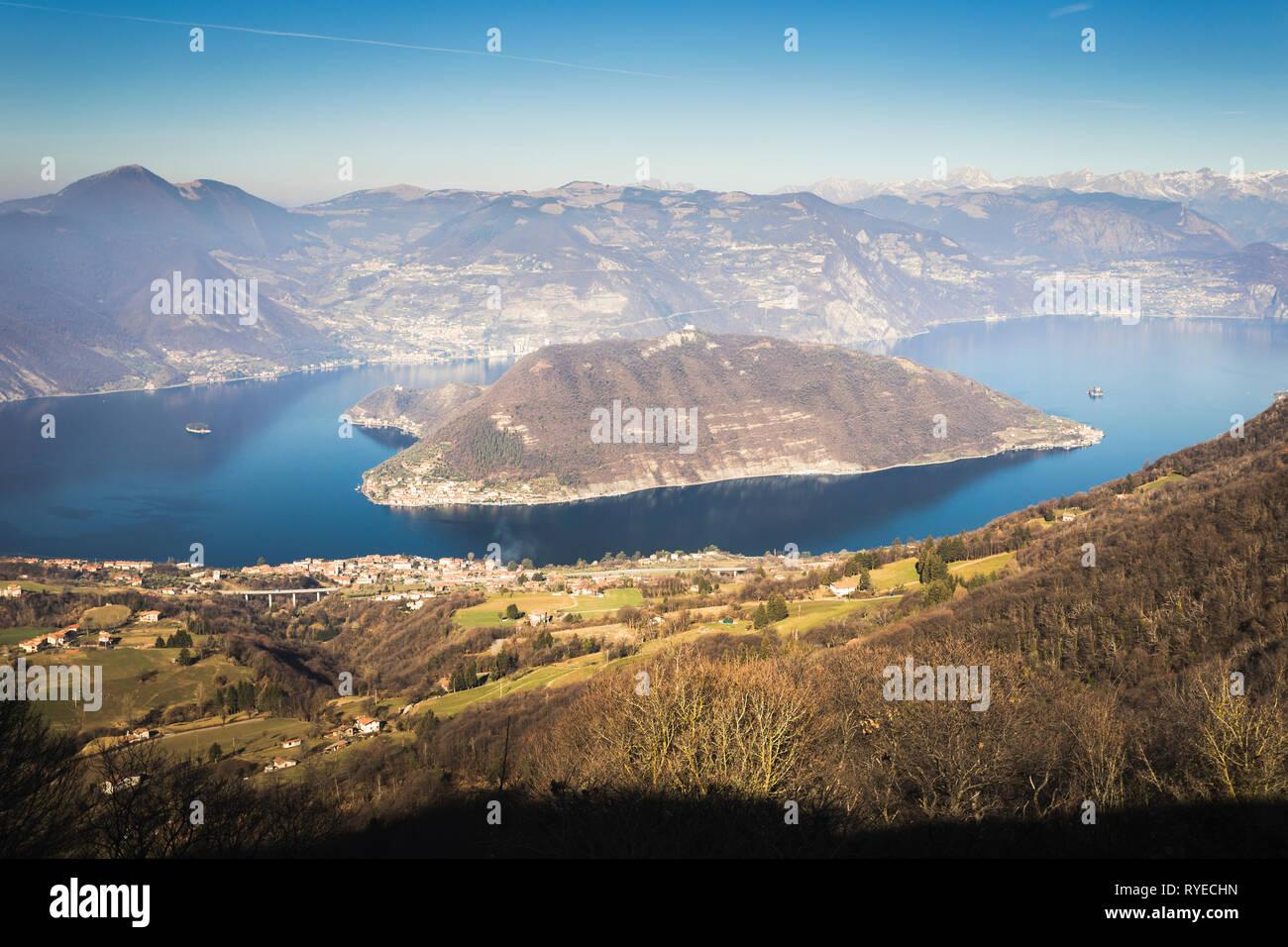 Iseo lake seen from Santa Maria del Giogo, Lombardy, Italy - Stock Image