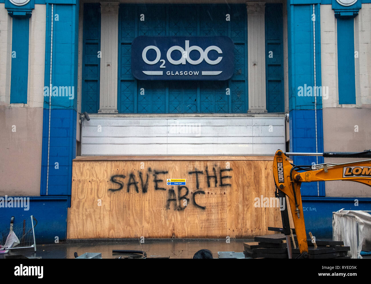 GLASGOW, SCOTLAND - 11th MARCH 2019: The O2 ABC music venue closed due to the Glasgow Art school fire. Locals want the ABC to open its doors. - Stock Image