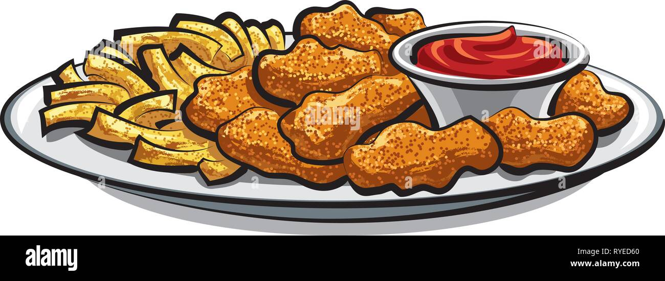 breaded chicken nuggets and french fries with sauce - Stock Vector