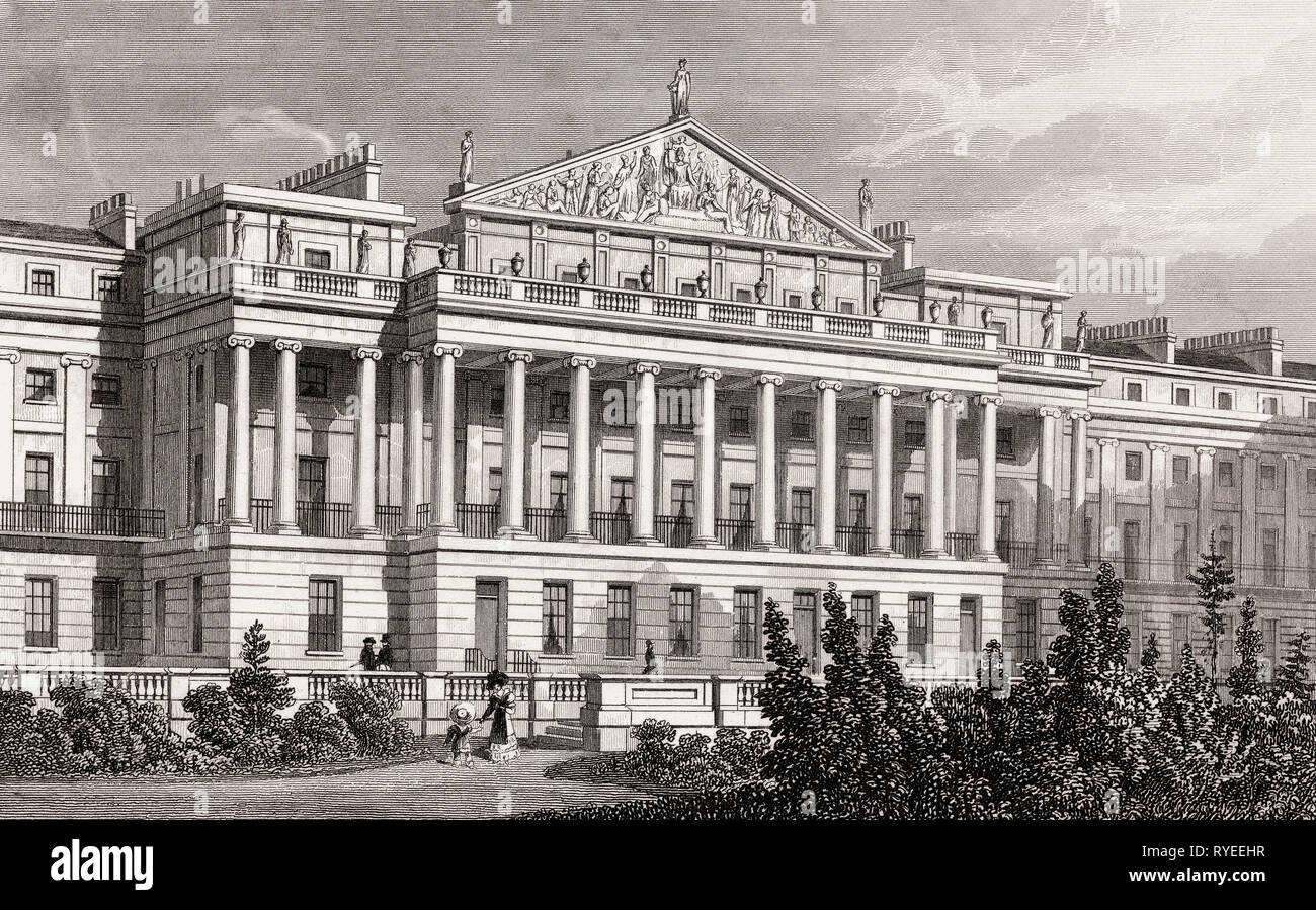 Cumberland Terrace, Regent's Park, London, UK, illustration by Th. H. Shepherd, 1826 Stock Photo
