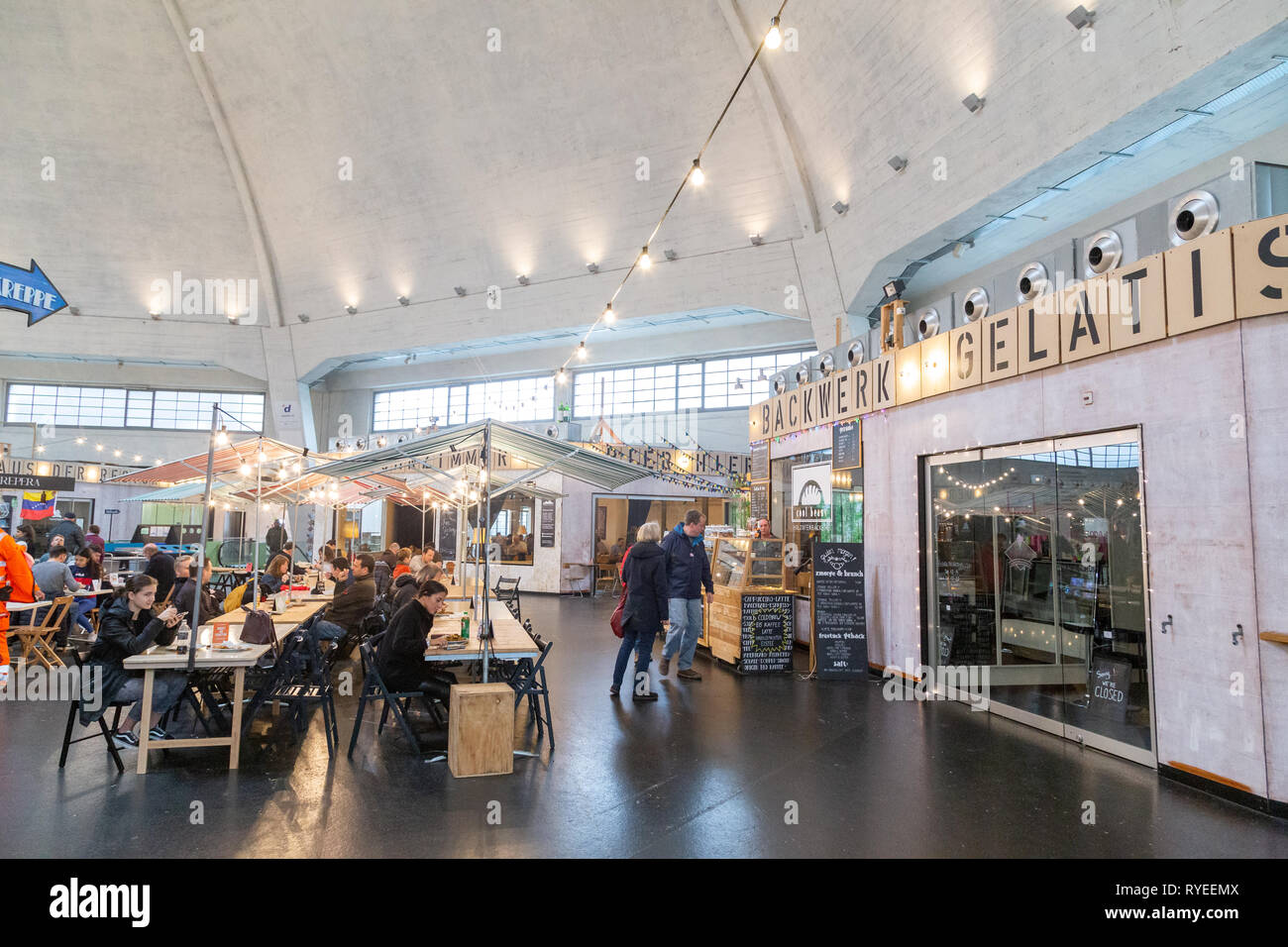 Food Court inside the Market Hall in Basel, Switzerland - Stock Image