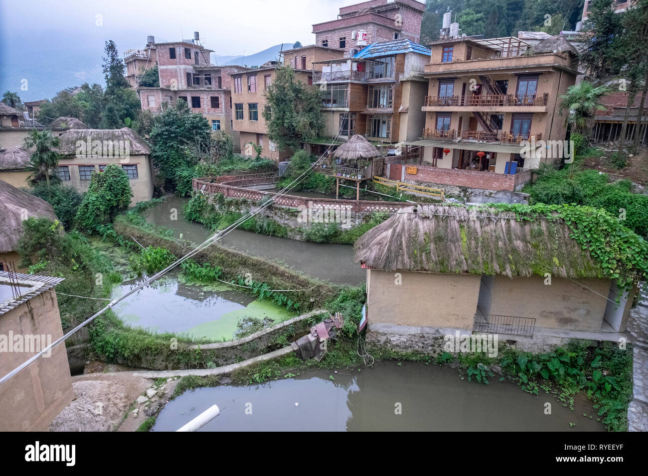 Hani Minority village, Yuanyang County, in Honghe Prefecture in southeastern Yunnan province, China, - Stock Image