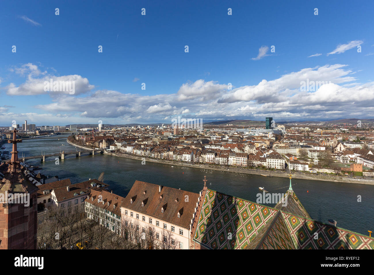 View from top of Basel Minster - Stock Image