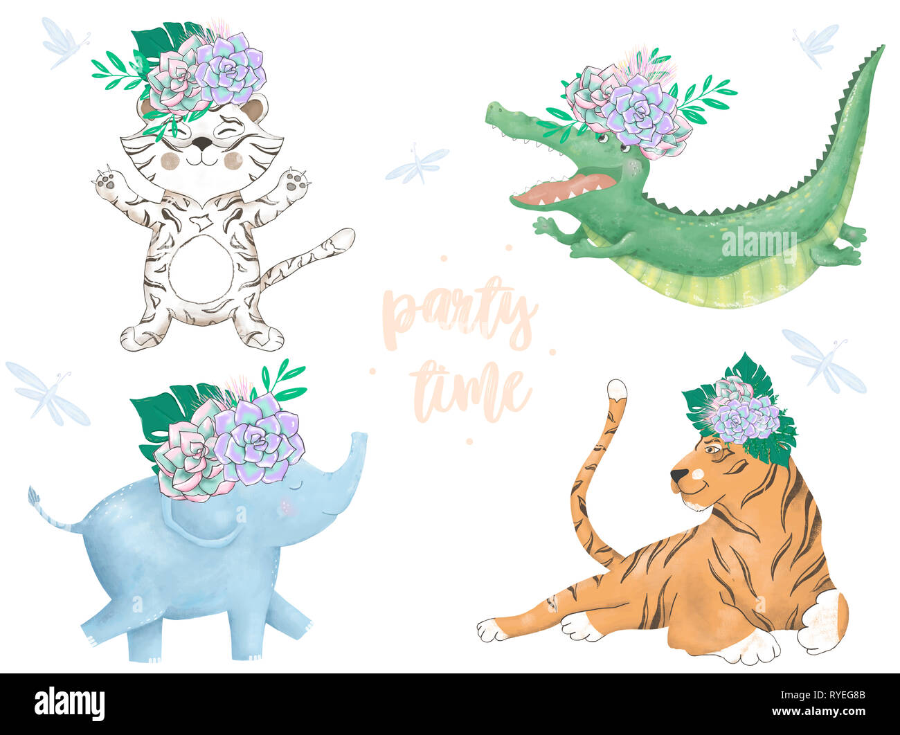 Watercolor Tiger Croc Elephant Lion Digital Zoo Clip Art Cute Animal And Flowers Party Time Text Greeting Celebration Birthday Card Funny African W