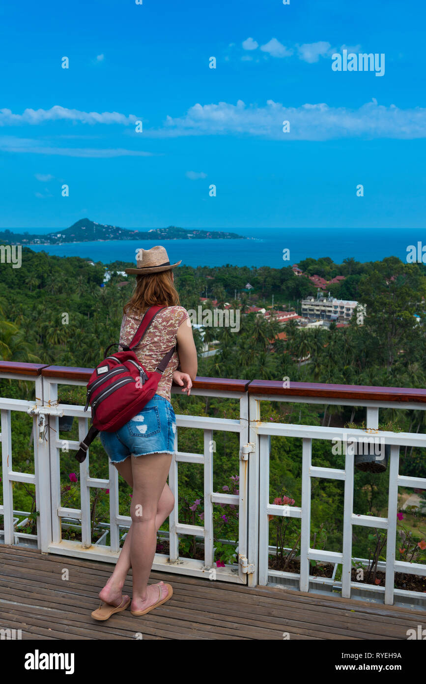 Girl standing on observation deck Lamai point in Samui island, Thailand Stock Photo