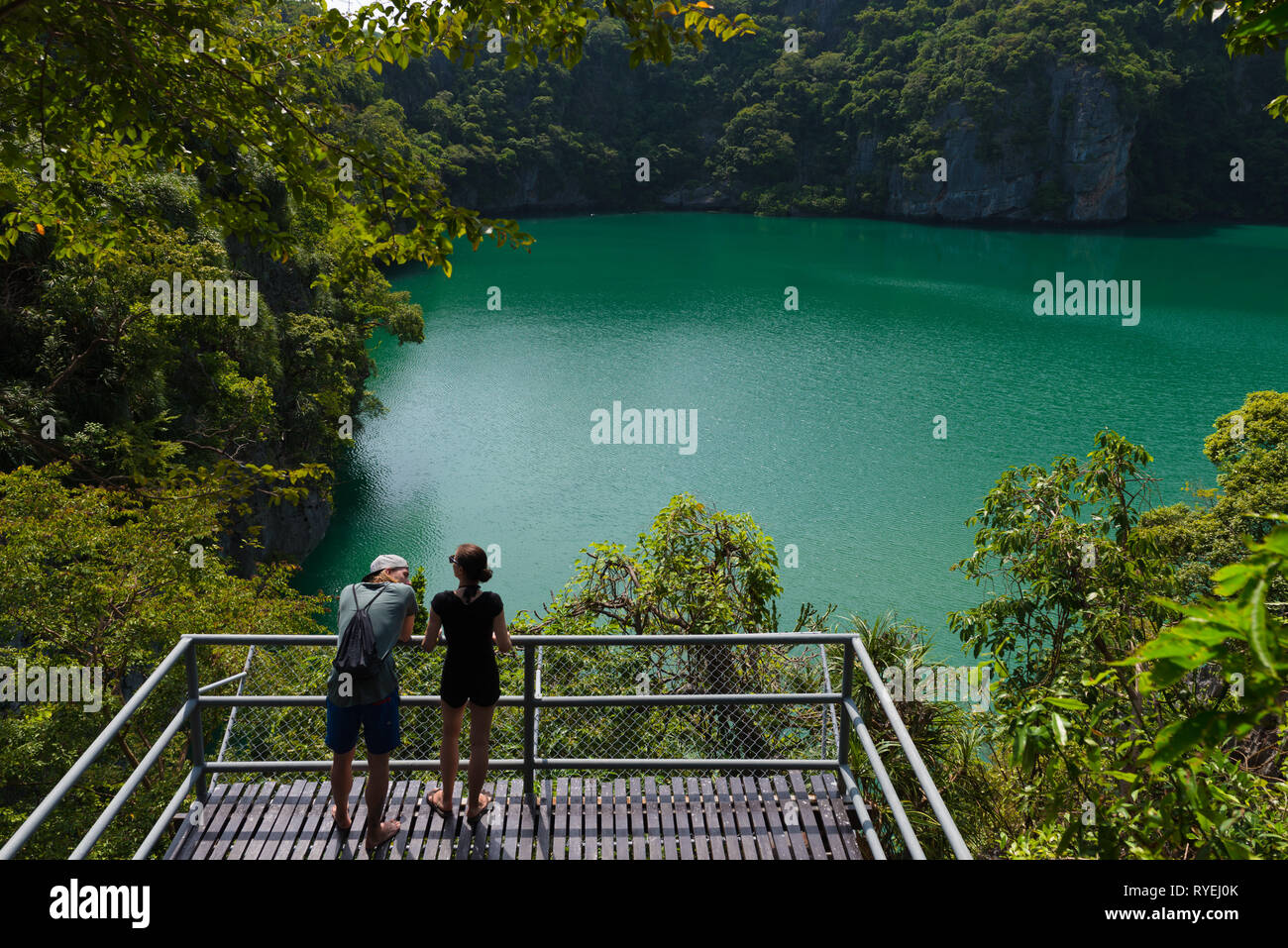 Emerald Lake (Blue Lagoon) in Ko Mae Ko island, one of is Ang Thong National Marine Park islands, Thailand Stock Photo