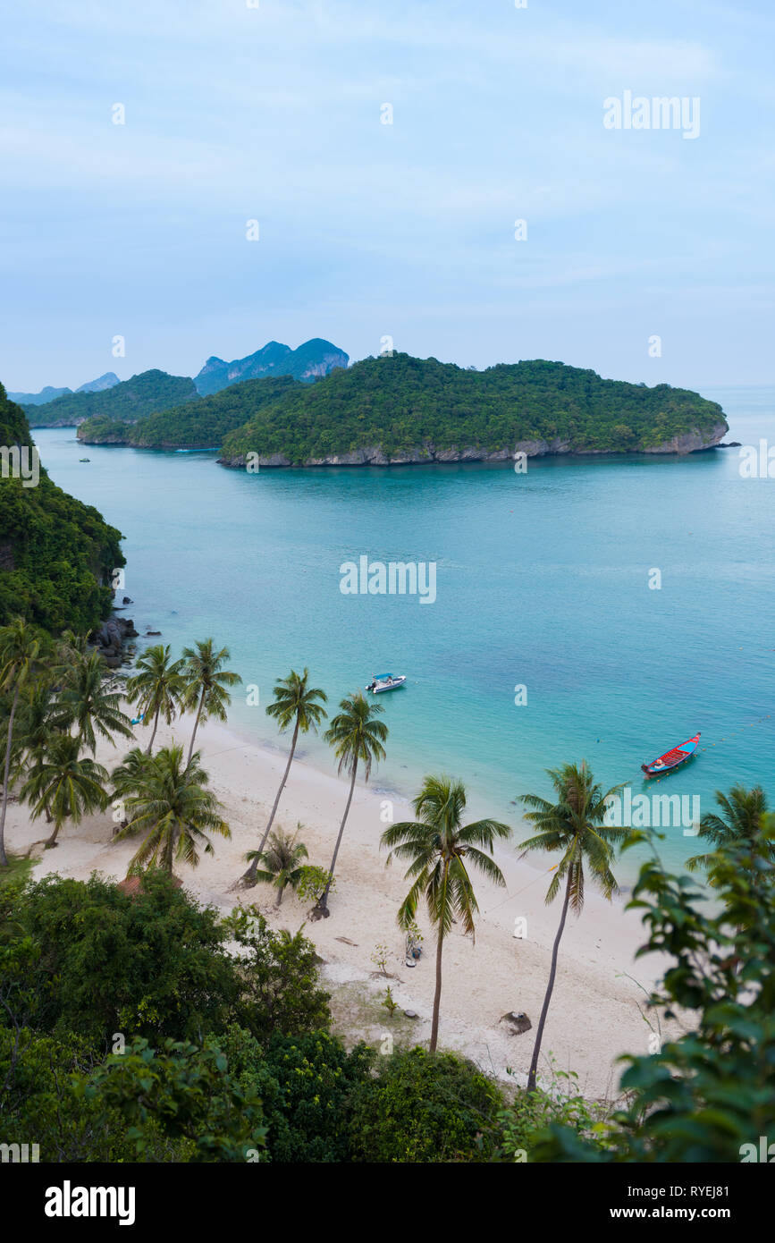 Aerial view of the main beach and dock of Ko Wua Talap island in Ang Thong national marine park, thailand Stock Photo