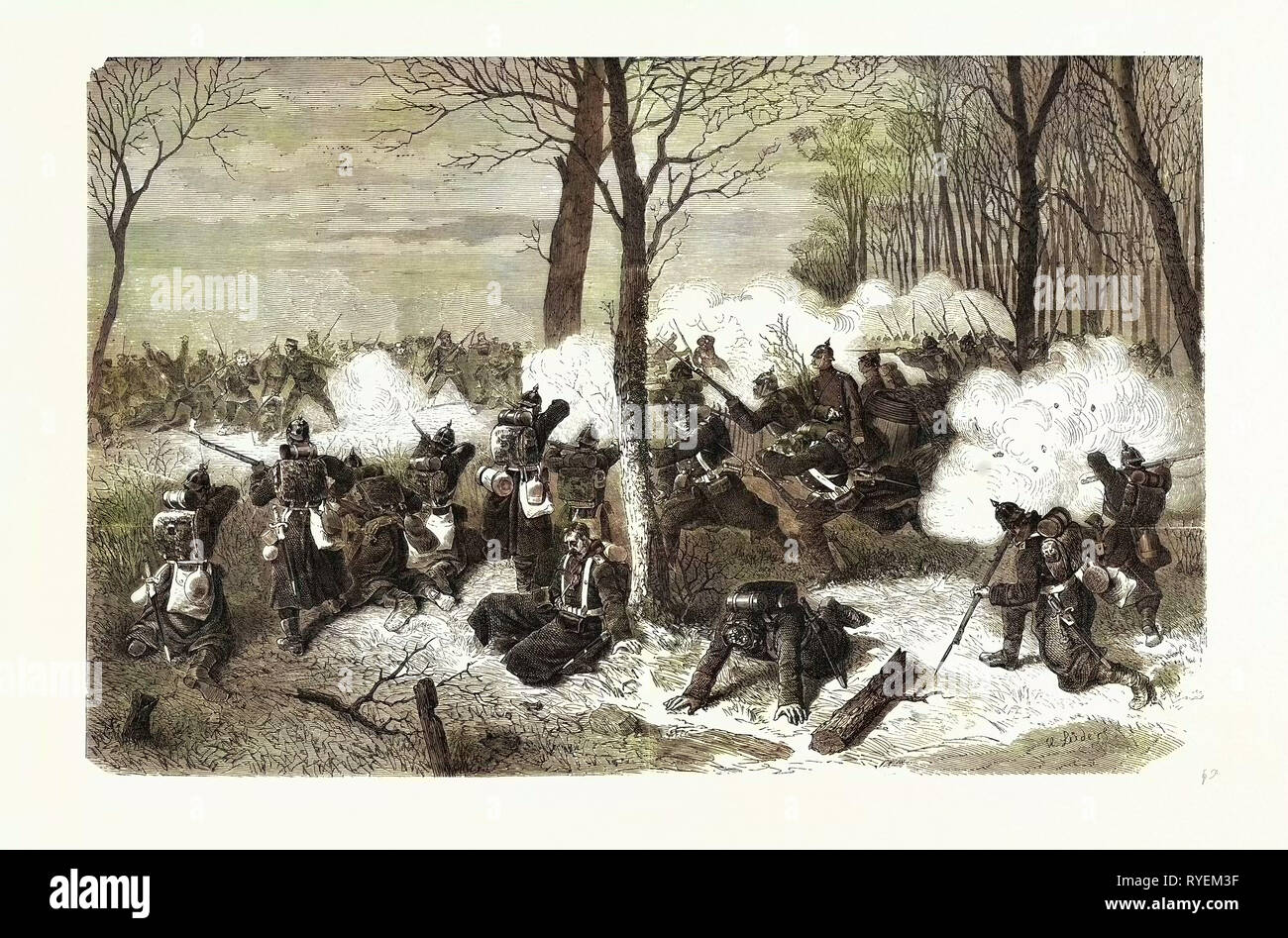 Franco-Prussian War: Bourget Defence by French Sailors on 24 December 1870 - Stock Image