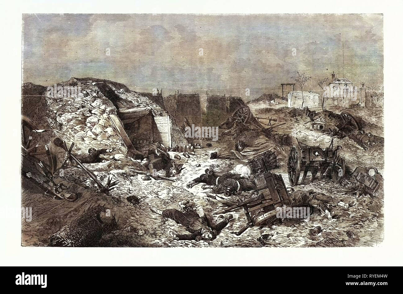 Franco-Prussian War: French Battery Left on Mont-Avron - Stock Image