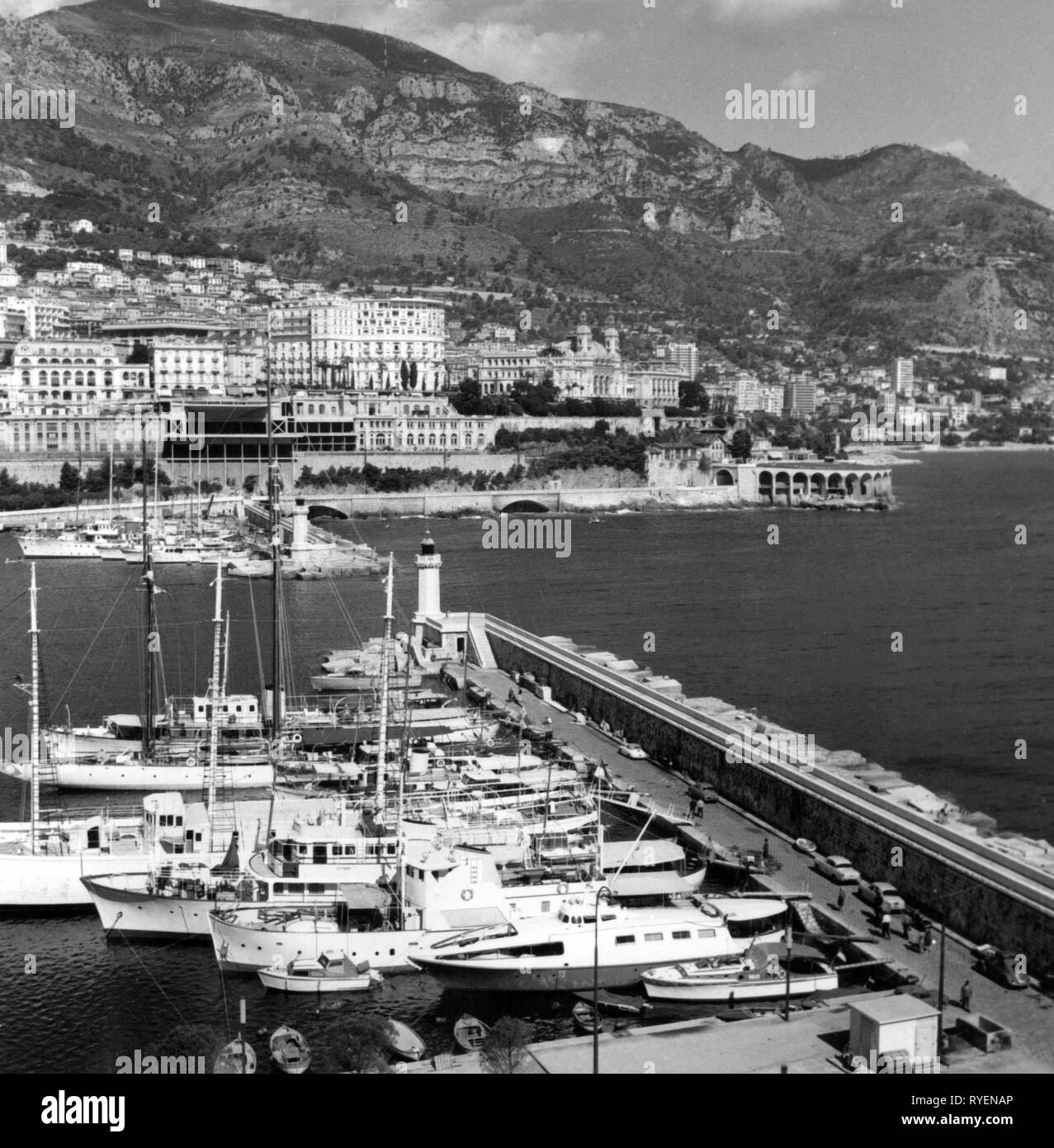 geography / travel, Monaco, view, Port Hercule and Monte Carlo, 1961, Additional-Rights-Clearance-Info-Not-Available - Stock Image