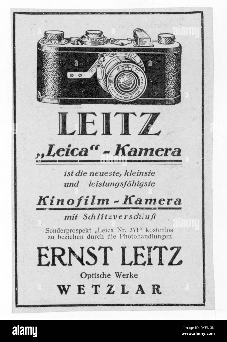 advertising, photography, advertisement for the Leitz 'Leica Nr. 371' by Ernst Leitz, Wetzlar, 1925, Additional-Rights-Clearance-Info-Not-Available - Stock Image