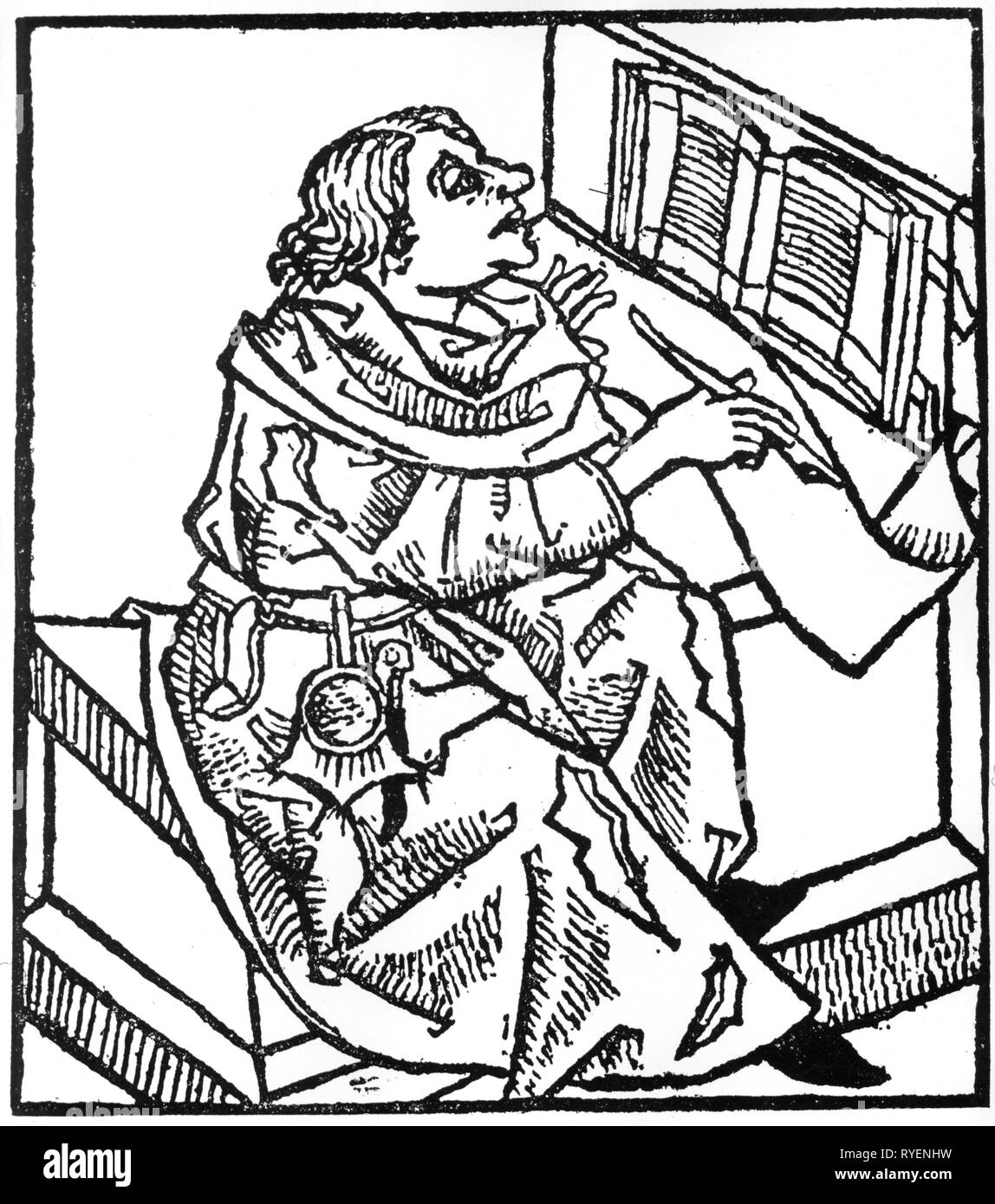 writing, scribe, scholar writing on a pell, woodcut, 'Rudimentum noviciorum sive Chronicarum et historiarum epitome', printed by Lukas Brandis vom Schasz, Luebeck, 5.8.1475, Additional-Rights-Clearance-Info-Not-Available - Stock Image