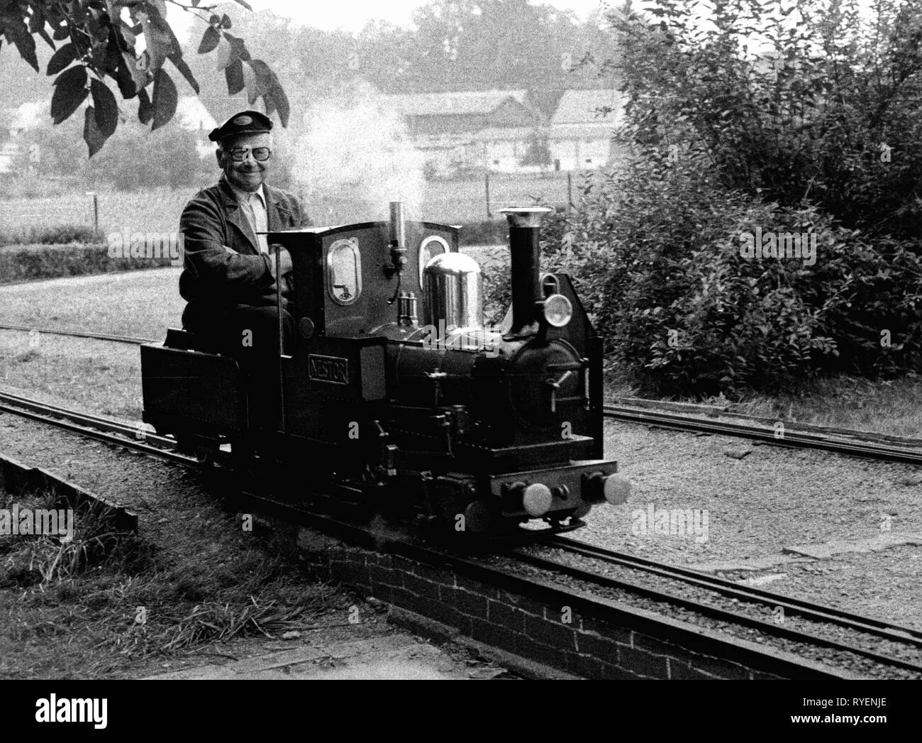 leisure time, hobbies, self-made miniature locomotive 'Nestor', Steam Railway Club Germany, 1982, Additional-Rights-Clearance-Info-Not-Available - Stock Image