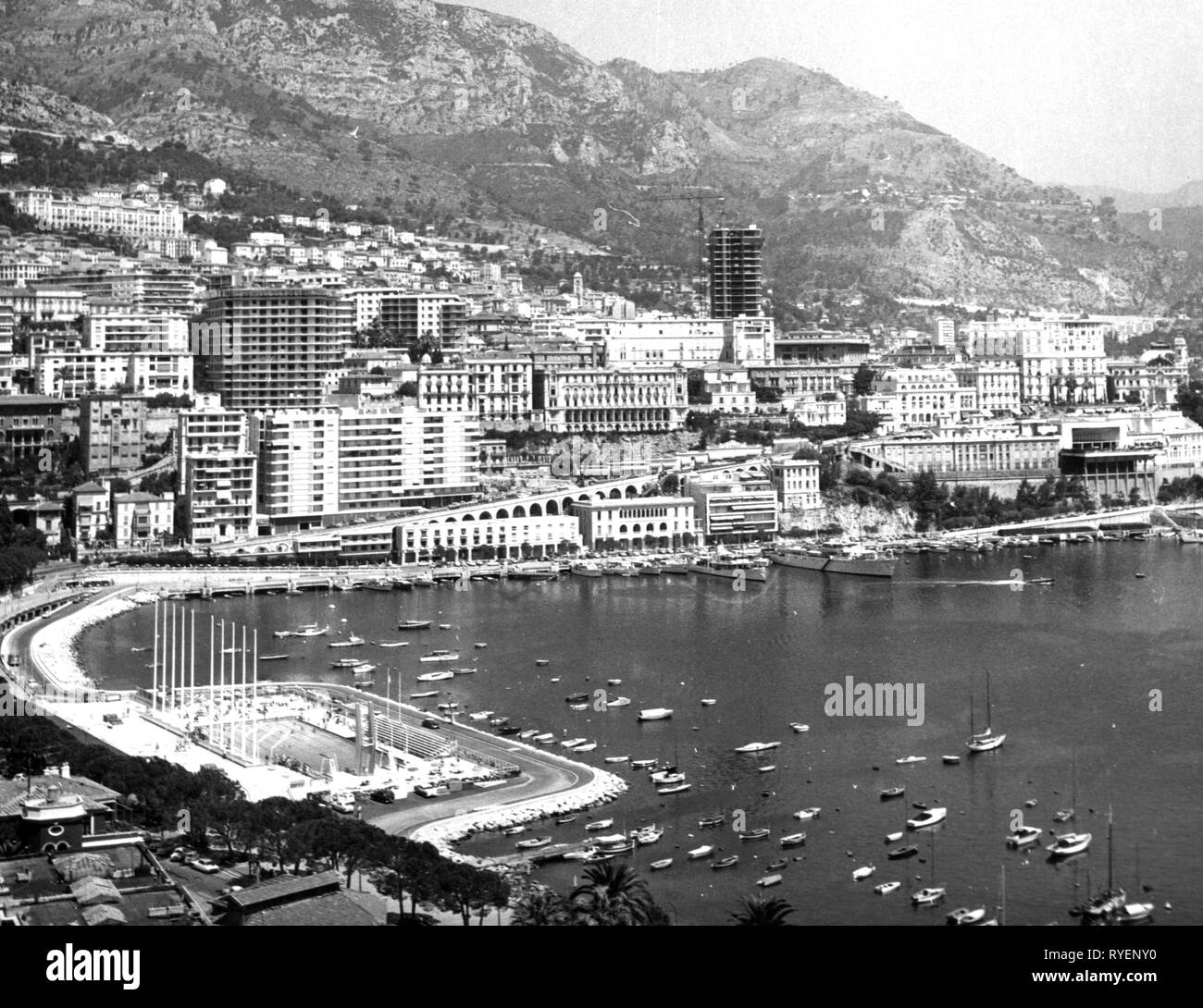 geography / travel, Monaco, harbour, Port Hercule, Monte Carlo, view, 1950s, Additional-Rights-Clearance-Info-Not-Available - Stock Image