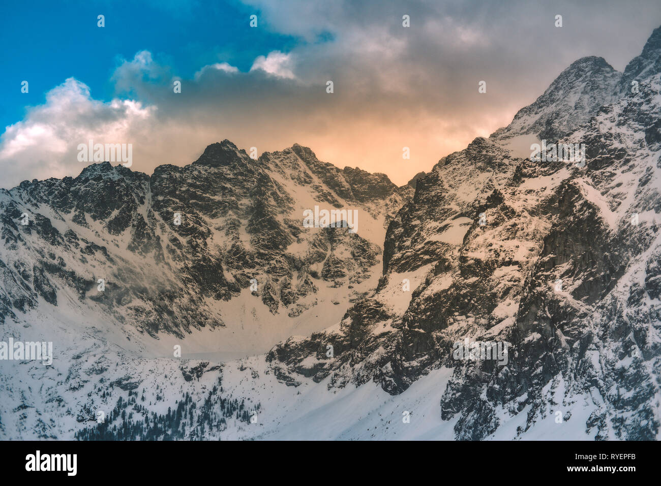 Mountains winter landscape. Tatra mountains in Poland retro vintage tones. - Stock Image