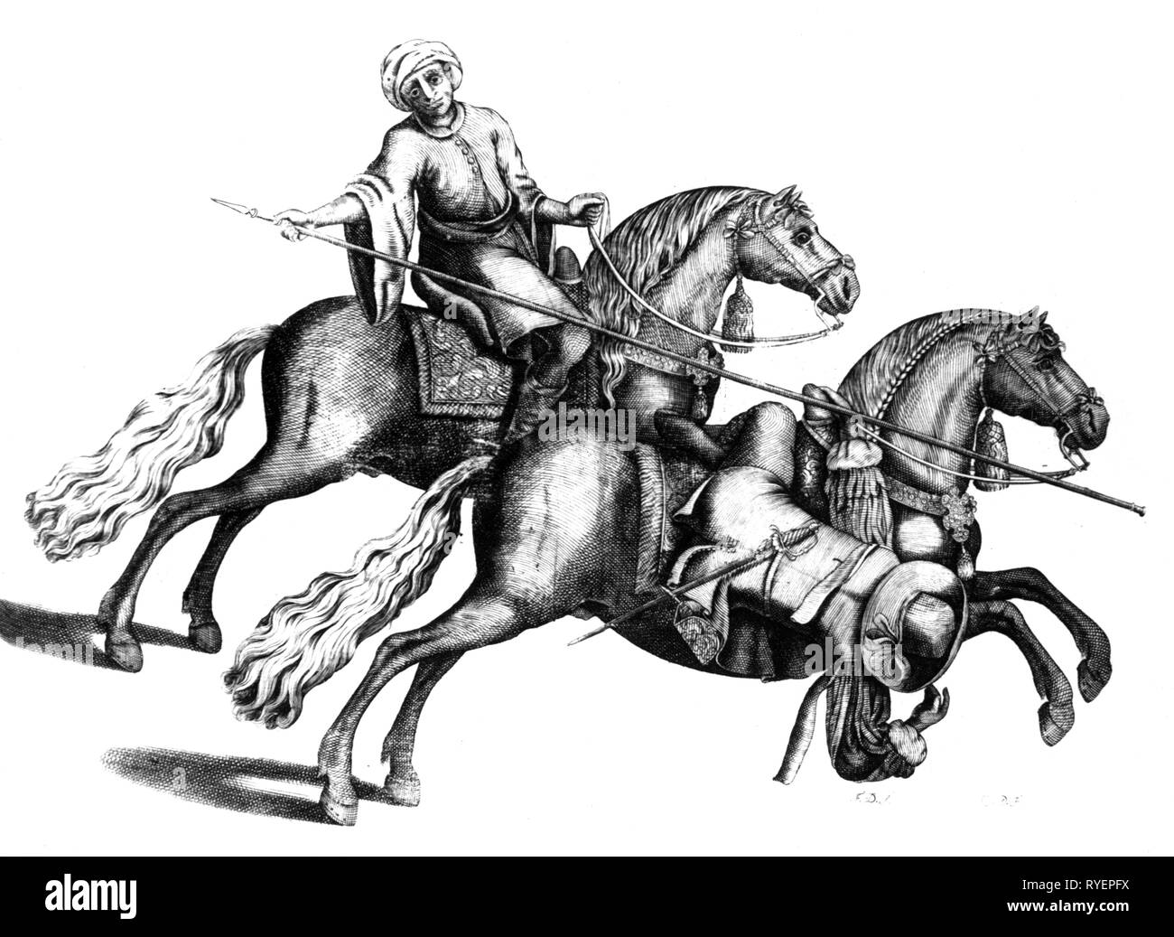 sports, riding, circus riding, a horseman is ducking under the lance of a Turk in gallop, 'Arte da Cavallaria' of Antonio Galvao de Andrade, printed by Joam da Costa, Lisboa, 1678, Additional-Rights-Clearance-Info-Not-Available - Stock Image