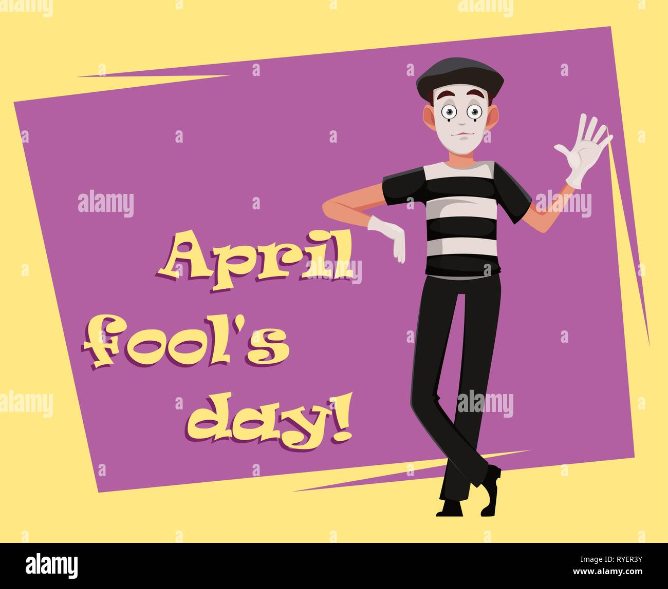 April Fool's Day greeting card with mime. Funny cartoon character performing pantomime. Flat style. Vector illustration - Stock Image
