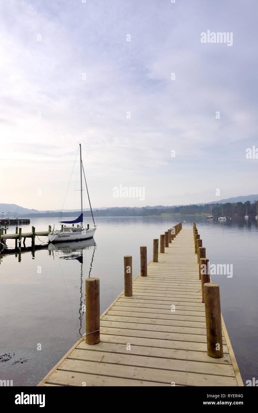 Boat Jetty,Lake Windermere,Ambleside,Lake District,Cumbria,England,UK Stock Photo