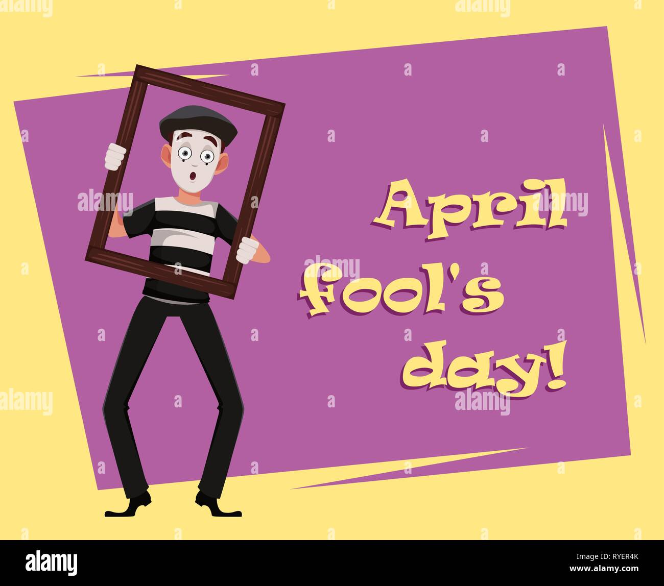 April Fool's Day greeting card with mime holding picture frame. Funny cartoon character performing pantomime. Flat style. Vector illustration - Stock Image