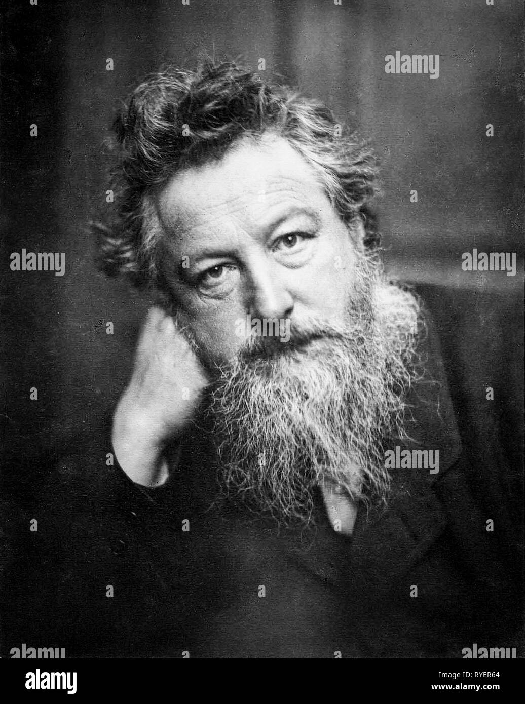 William Morris (1834-1896), portrait photograph aged 53 by Frederick Holyer, 1887-1888 - Stock Image