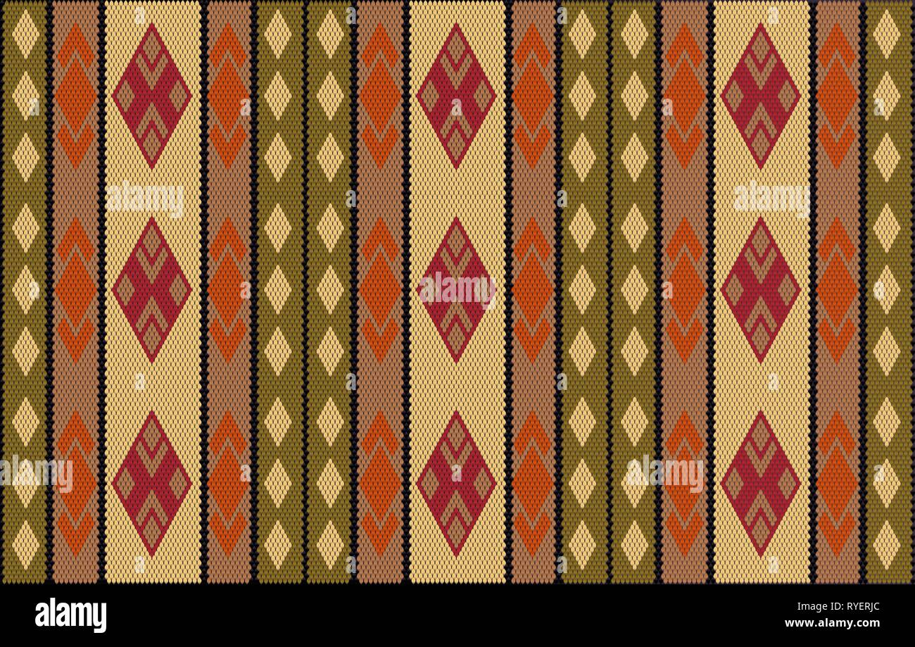 Al Sadu weaving is a traditional embroidery form of weaving that is hand woven by Bedouin women. - Stock Vector