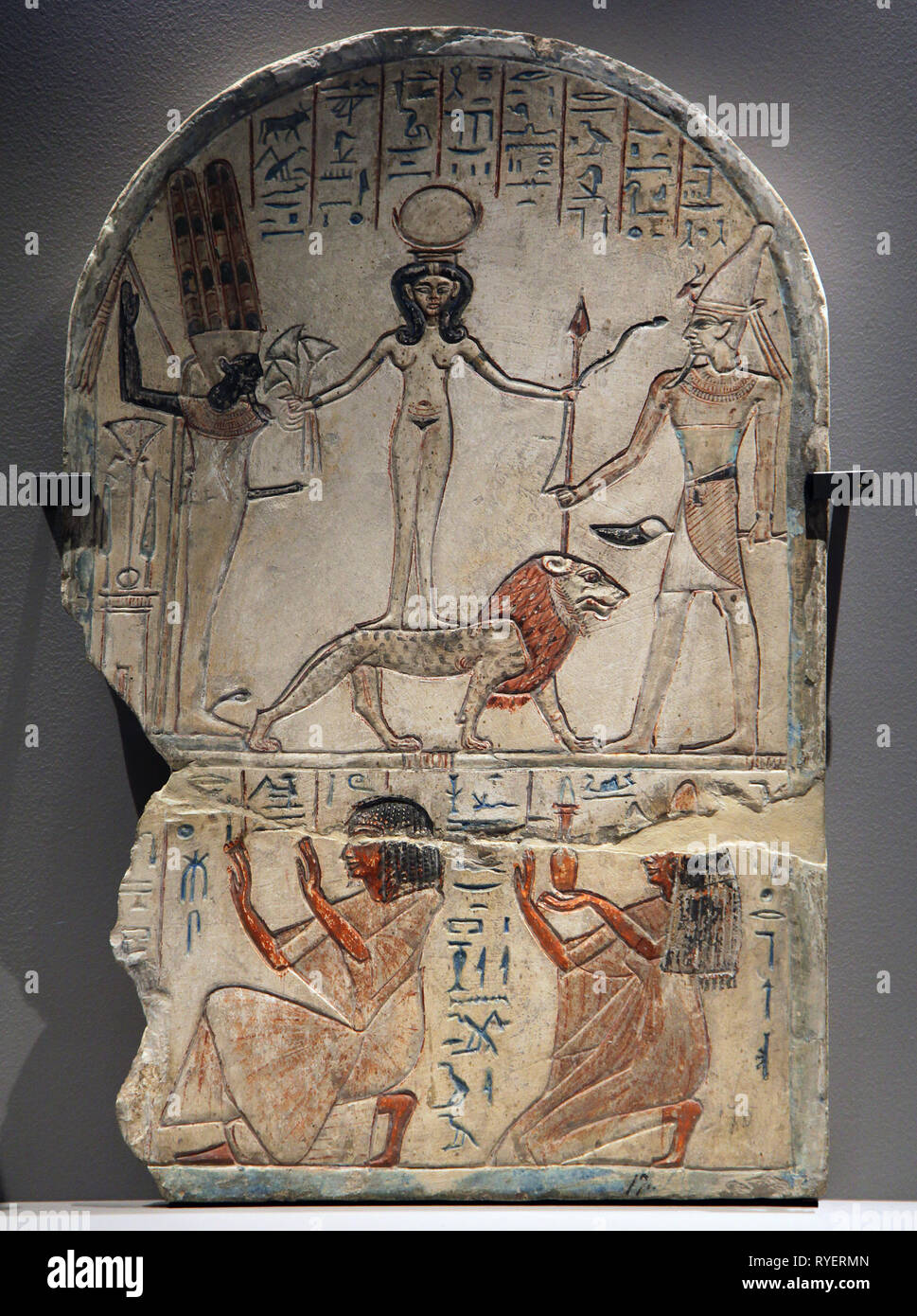 Kadesh and Resjef.1292-1191 bc.Gods of Egypt.Ancient Egyptian Pantheon.Gods and Goddesses of the Ancient Egyptians. - Stock Image