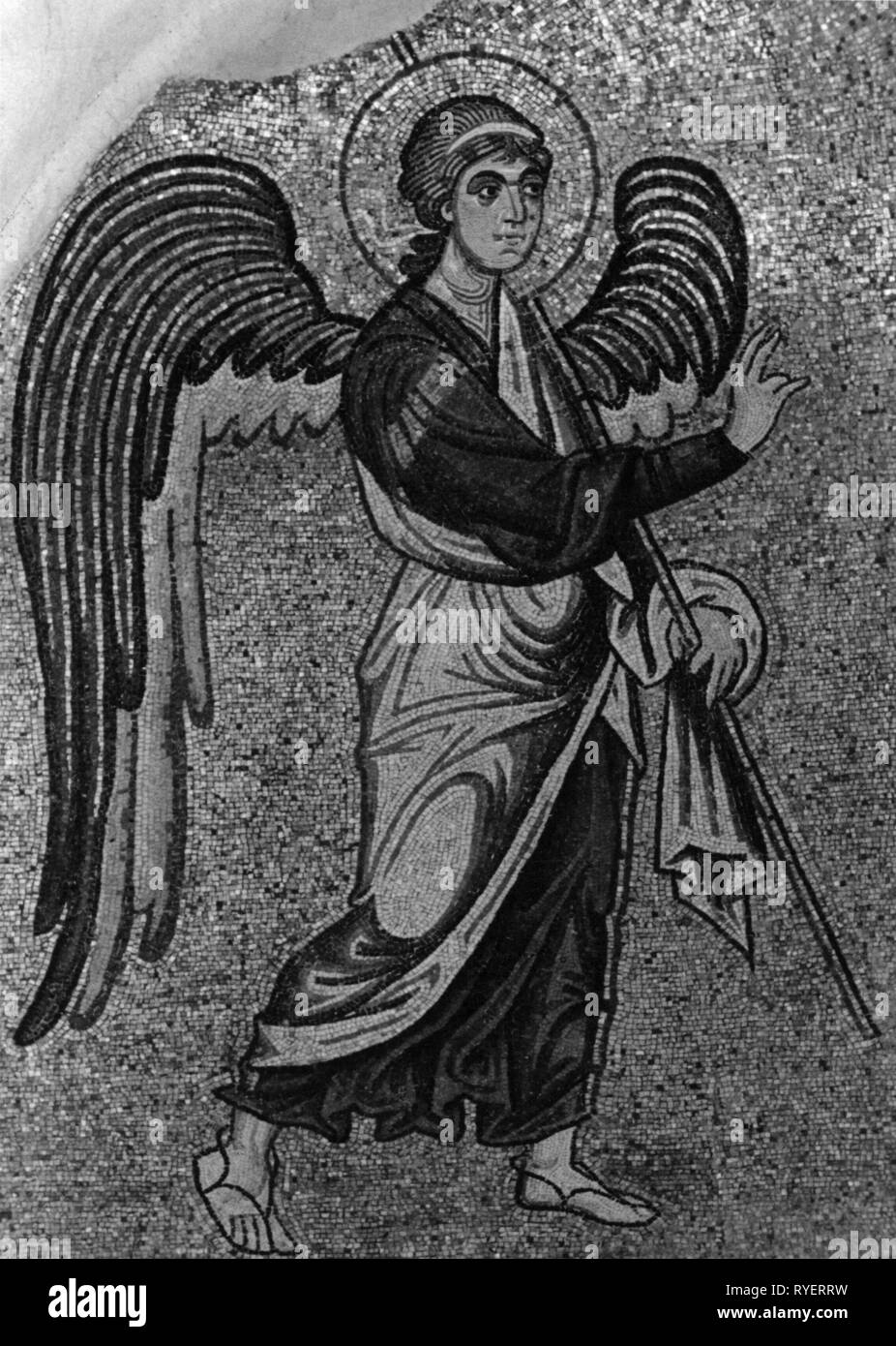 religion, Christianity, angel, archangel Gabriel, mosaic, Daphni Monastery, Athens, 11th century, Additional-Rights-Clearance-Info-Not-Available - Stock Image