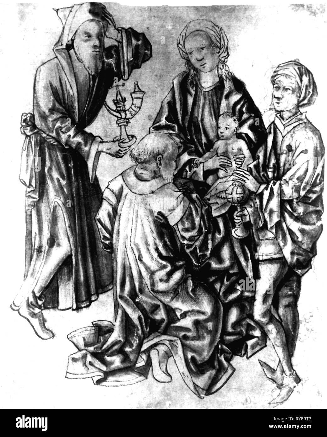 religion, Christianity, Three Kings, 'Adoration of the Magi', drawing, Germany, 15th century, 19.5 x 15.8 cm, State Graphics Collection, Munich, Middle Ages, medieval, mediaeval, graphics, half-length, half length, sitting, sit, kneel, kneeling, Mary, Madonna, Jesus Christ, the infant Jesus, baby Jesus, divine infant, child, children, kid, kids, Kaspar, Melchior, Balthazar, nativity, nativities, Messiah, Saviour, Redeemer, holding, hold, present, presents, gold, incense, frankincense, myrrh, worship, worships, religion, religions, king, kings, graphic,, Artist's Copyright has not to be cleared - Stock Image