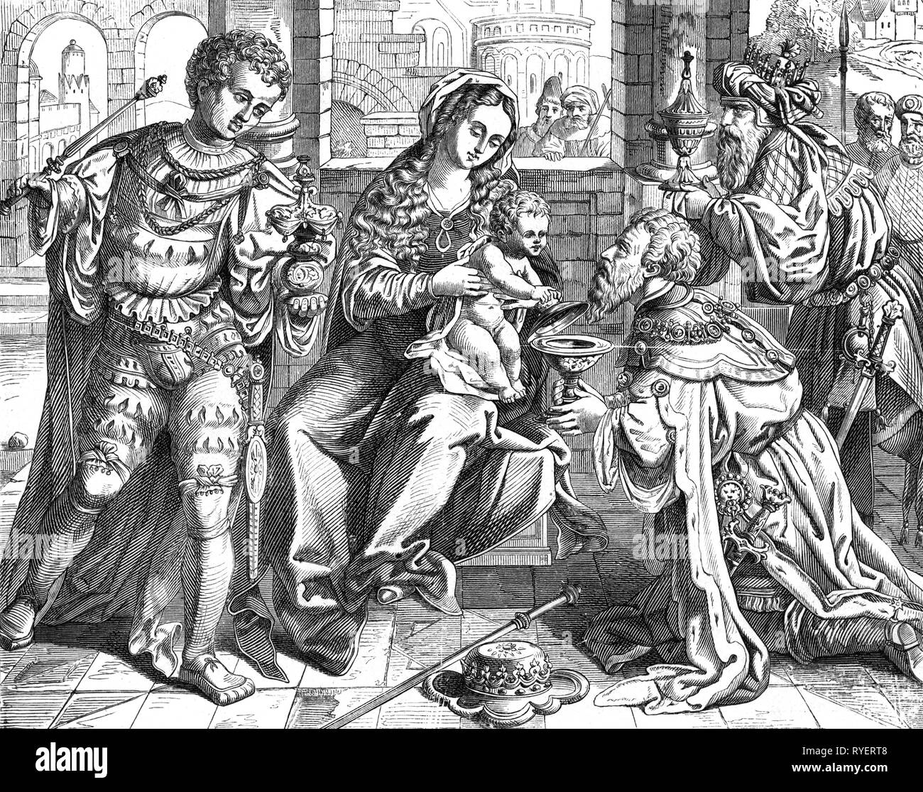 religion, Christianity, Three Kings, 'THree Wise Men', wood engraving, 19th century, graphic, graphics, half-length, half length, standing, sitting, sit, kneel, kneeling, Mary, Madonna, Jesus Christ, the infant Jesus, baby Jesus, divine infant, child, children, kid, kids, presents, present, presenting, give, giving, given, gives, gave, gold, incense, frankincense, Kaspar, Melchior, Balthazar, nativity, nativities, Messiah, Saviour, Redeemer, myrrh, religion, religions, king, kings, wise man, wise woman, sage, wise men, wise women, sages, historic, Additional-Rights-Clearance-Info-Not-Available - Stock Image
