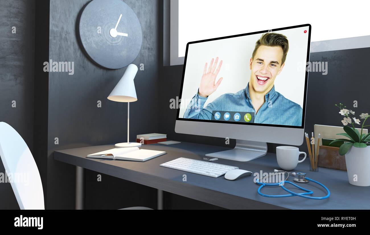 doctors desktop telemedicine website mockup 3d rendering - Stock Image