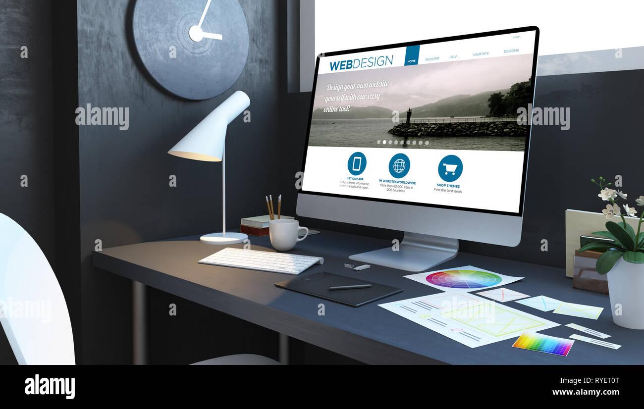 Web Design Workplace Mockup Interior 3d Rendering Stock Photo Alamy