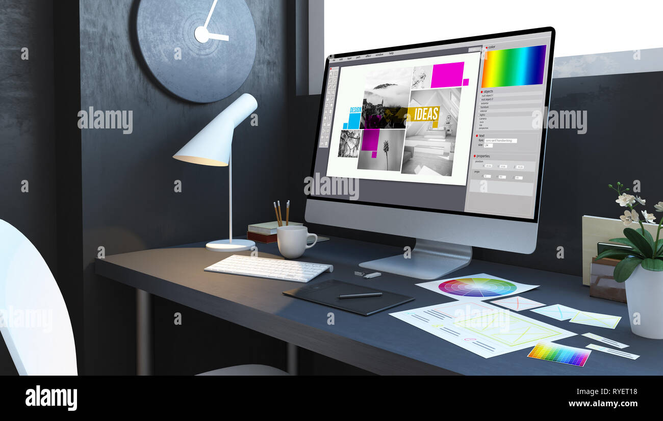 typesetting design workplace mockup interior 3d rendering - Stock Image