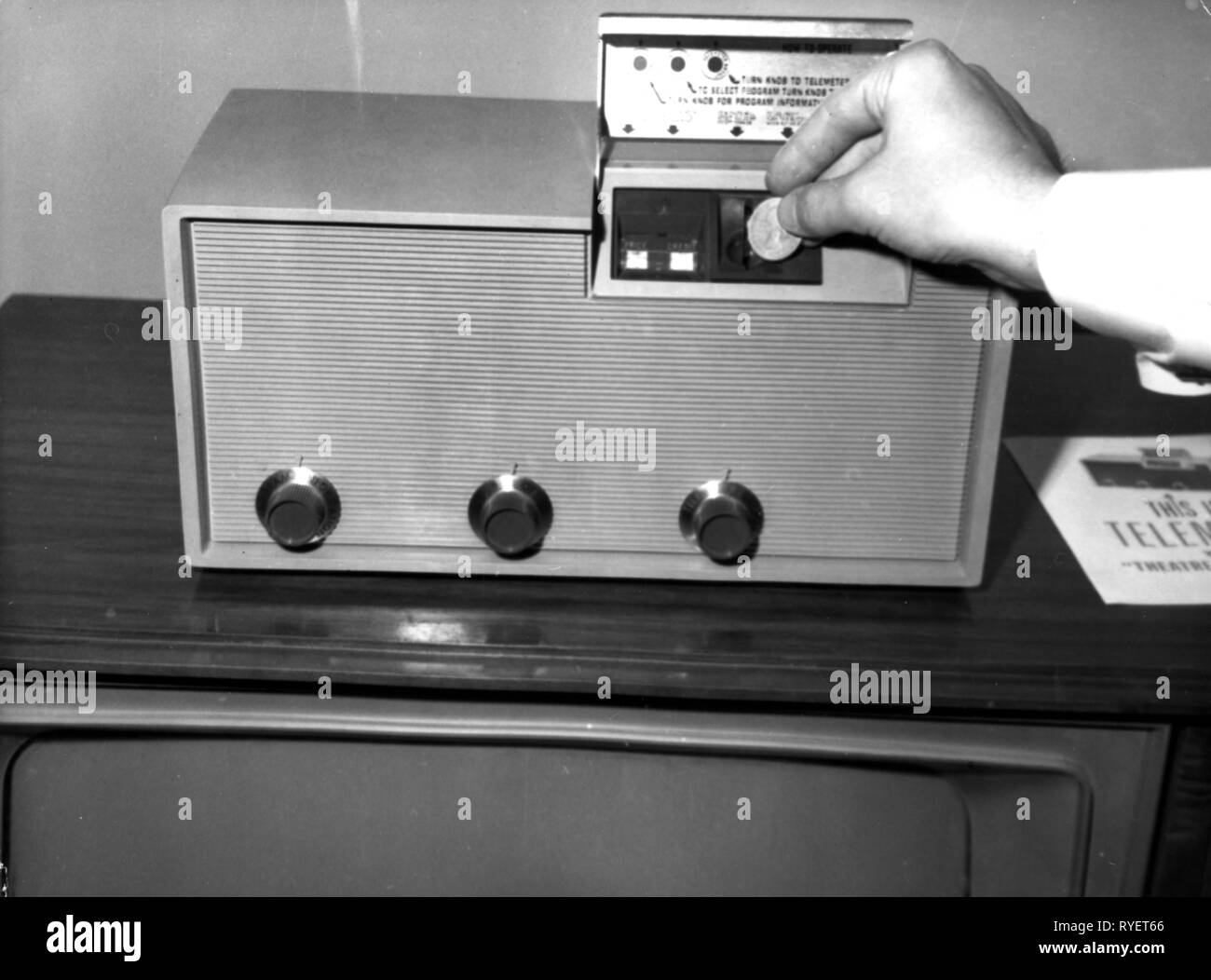 broadcast, television, Telemaster, according to wish compiled television program, coin-operated machine for the fees, Germany, January 1964, Additional-Rights-Clearance-Info-Not-Available - Stock Image
