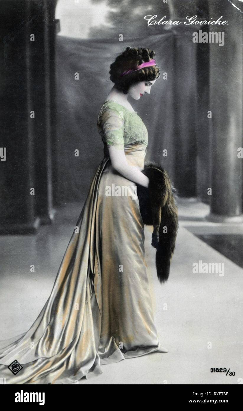 theatre / theater, turn of the century, Clara Goericke, coloured picture postcard, Vienna, 1910, Additional-Rights-Clearance-Info-Not-Available - Stock Image