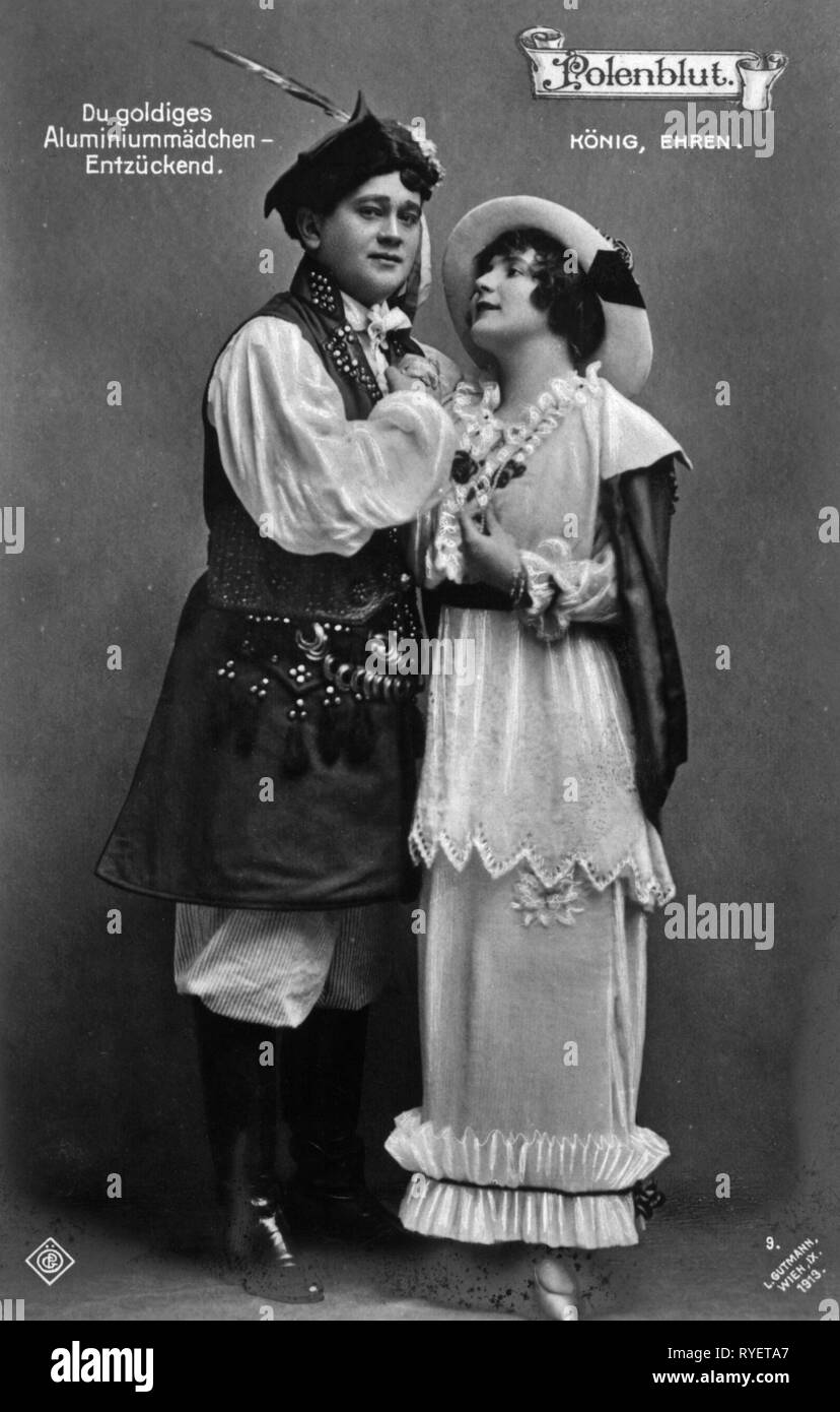 theatre / theater, turn of the century, Josef Koenig, Kaethe Ehren, in: 'Polenblut' (Polish Blood), by Oskar Nedbal, picture postcard, Vienna, 1913, Additional-Rights-Clearance-Info-Not-Available - Stock Image