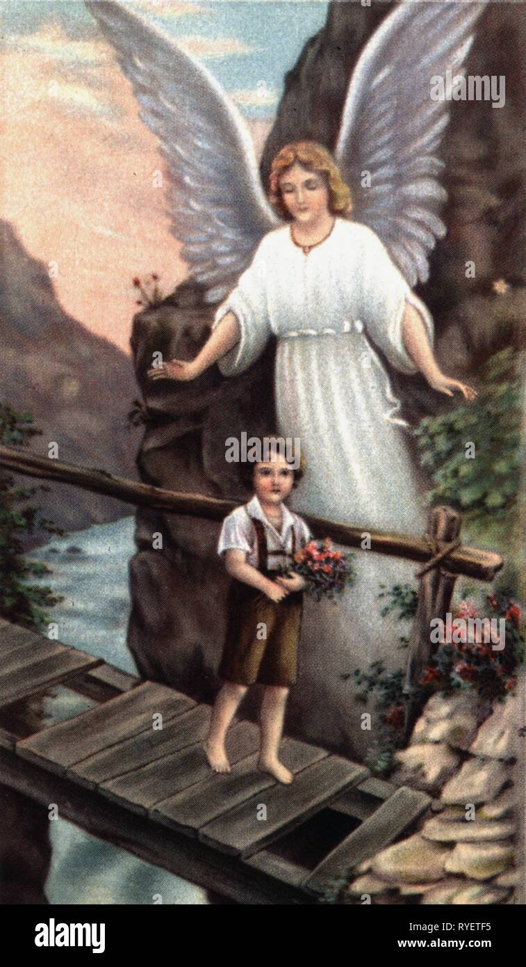 religion, Christianity, angel, guardian angel watching over child, print, 19th century, Additional-Rights-Clearance-Info-Not-Available - Stock Image
