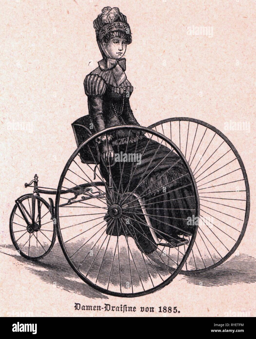 transport / transportation, bicycles, tricycle, ladies' draisine, wood engraving, Germany, 1885, Additional-Rights-Clearance-Info-Not-Available - Stock Image