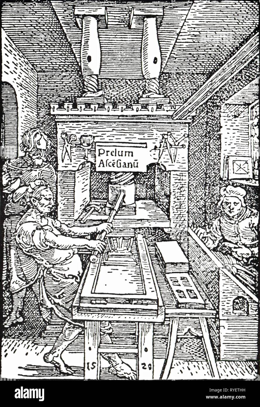 technics, typography, print shop, woodcut.emblem of Jodocus Badius, Paris, 1520, Additional-Rights-Clearance-Info-Not-Available - Stock Image