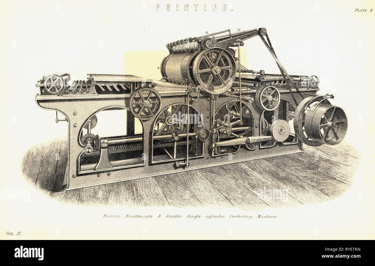 technics, typography, machinery, single-cylinder printing press of Buxton, Braithwaite and Smith, Manchester, England, 1885, contemporary wood engraving, Additional-Rights-Clearance-Info-Not-Available - Stock Image